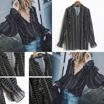 Latest Style Fashion Women Ladies Loose Tops V-Neck Ruffles Long Flare Sleeve Casual Blouse Shirt