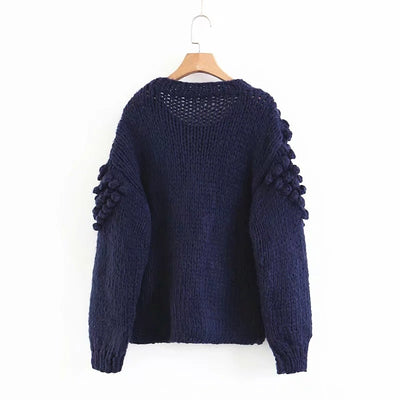 Mohair Hand Knitted Sweater Women O Neck Pullover Femme Long Sleeve Thick Sweater Autumn Winter Knitwear Sweater