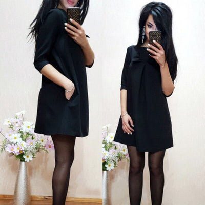 New Arrival Spring Autumn Women Sexy Black Crochet Lace Long Sleeve Loose Shift Dress Female Patchwork Straight Dresses