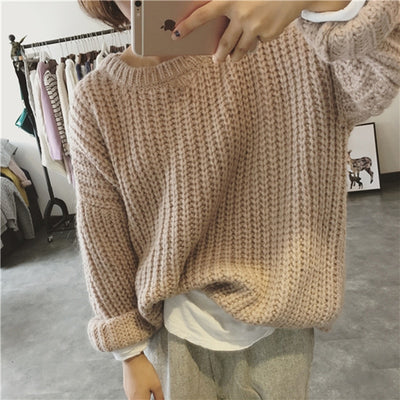 New Autumn Winter Women Sweater Thick Coarse Wool Knitted Pullover Tops Casual Loose Long Sleeve Female Warm Jumper Sweater