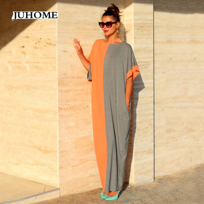 New Fashion Summer Women Dress O-Neck Loose Sundress Maxi Vestido Casual Long Dress Short Sleeve Beach Evening Party Dress