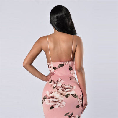 Sexy Deep V Neck Backless Bodycon Dress Women Floral Print Mini Dresses Summer Clubwear Party Skinny Short Dress Vestidos