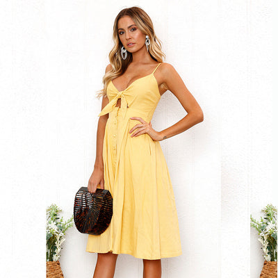 Spring Summer Strapless Sleeveless Elegant Backless Dress Women Sexy Party Ladies Red Yellow Off Shoulder Boho Dresses