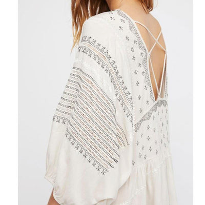 Spring Summer Women Embroidery Backless Sexy Dress O-neck Cross Bat Sleeve Oversized Hippies Holiday Boho Beach Dresses