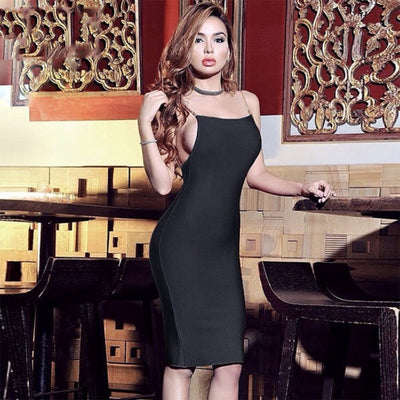 Summer Bandage Dress Women Spaghetti Strap Chain O-Neck Celebrity Party Bodycon Sexy Backless Dress Women Wholesale Vestido