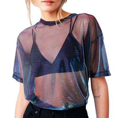 Summer New Fashion Women Short Sleeve O Neck Solid Pure Color Tops Lady See Through Mesh Fishnet T-Shirt