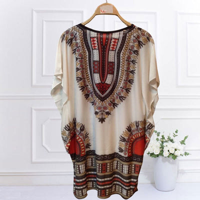 Summer Plus Size Dresses Casual Womens Clothing Round Neck Lace Up Printed Cut Out Batwing Sleeve Loose Shift Mini Dress