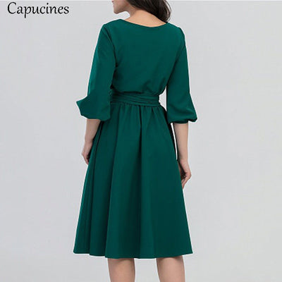 Summer Vintage Soild Lantern Sleeve A-Line Dress Women Elegant O-Neck Half Sleeve Pocket Sashes Knee-Length Casual Dress
