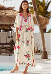 Summer Women Oversized Ethnic Floral Embroidery Hippie Boho People Batwing sleeves Maxi Robe Long dress Vestido Feminine