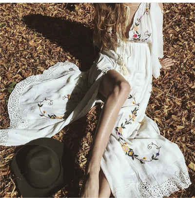 Summer Women Oversized Ethnic Floral Embroidery Hippie Boho People Cloak sleeves Maxi Robe Long dress Vestido Feminine