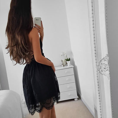 Summer Women Sexy Sleeveless Strap Lace Dress Beach Backless Ladies Dresses Deep V-Neck Elegant Fashion Female Vestidos