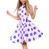 Vintage Polka Dot Print Dress Women Summer Sleeveless Party Club Mini Dress Vestido Elegant Ladies Sweet Sundress With Belt