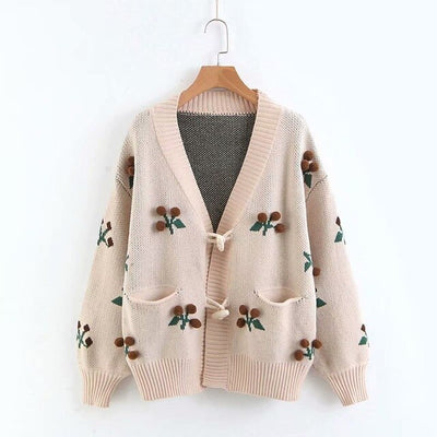 Vintage V-Neck Cardigan Women Cherry Embroidery Harajuku Sweater Women Knitwear Sweater Sueter Mujer Jumper