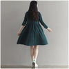 Vintage Women Loose Dress Turn-Down Collar Character Full Sleeve Casual Vestidos Femininos Corduroy Green Retro Lady Dress