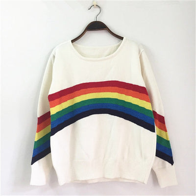 Winter Runway Design Rainbow Striped Knitted Sweaters Women Harajuku Long Sleeve Loose Pullovers Pull Jumper Tops Clothing