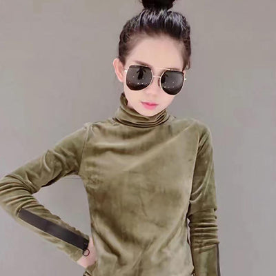 Woman Velvet Warm Bottoming Half Turtleneck Pullover Sweaters New Fashion Fall Korean Long Sleeve Pullover Sweater