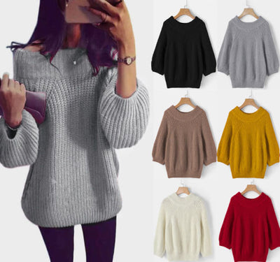 Women Fashion Loose Long Sleeve Oversize Sweater Kintted Jumper Tops Knitwear Pullover Tops