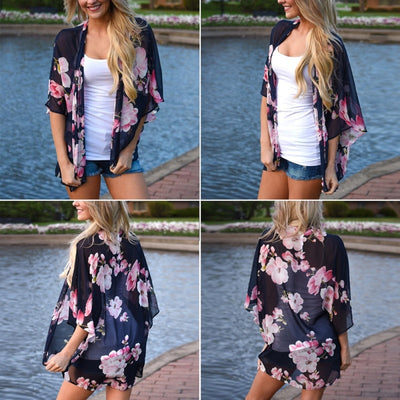 Women Fashion Summer Blouse Ladies Vintage Floral Print Chiffon Kimono Cardigan See Through Casual Cover Up Beach Shawl