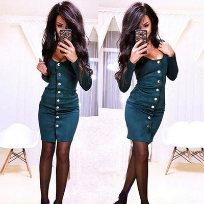 Women Sexy Vintage Long sleeve Slim Button shirt dress Autumn Velvet Fashion O-Neck Long section Party Dresses Bodycon