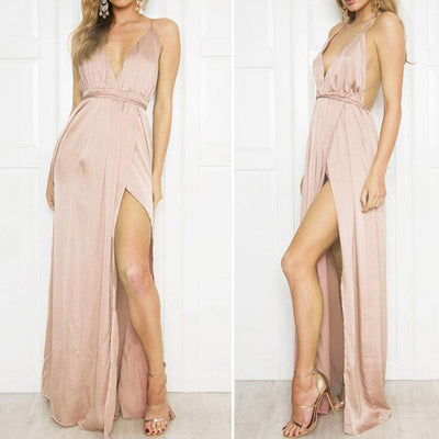 Women Summer Fashion Elegant Backless Sexy Beach Dress Sleeveless Spaghetti Strap Deep V Neck Causal Bandage Maxi Dress