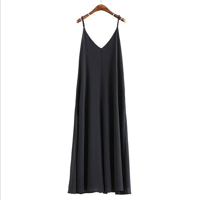 Women Summer Long Dress Beach Spaghetti Strap Dresses Backless V-Neck Solid Oversized Strappy Maxi Dress