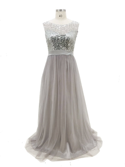 new Women sleeveless sequins Formal Wedding Bridesmaid elegant female Long Party Ball Prom Gown voile long Dresses