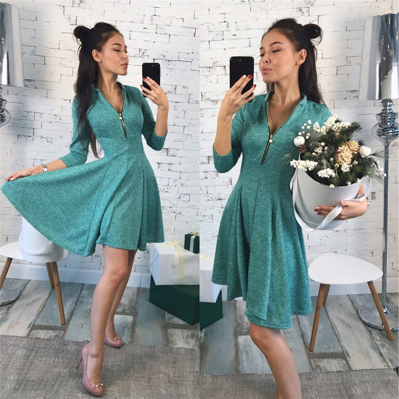 f78b8c87d 2019 summer Fashion Women Bust Zippers Dress Solid Pleated V-neck Sexy  Ladies Dresses Evening