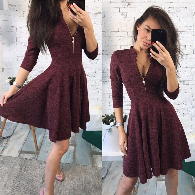 002be7efcb12b 2019 summer Fashion Women Bust Zippers Dress Solid Pleated V-neck Sexy  Ladies Dresses Evening Party Bodycon Mini Dress vestidos