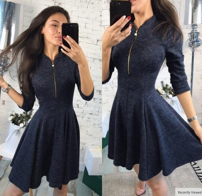 summer Fashion Women Bust Zippers Dress Solid Pleated V-neck Sexy Ladies Dresses Evening Party Bodycon Mini Dress vestidos