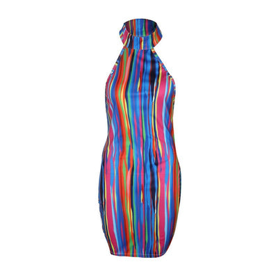 summer beach dress casual sexy high neck dress Backless women sundress Slim fit bodycon short dress Multicolor vestidos