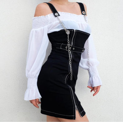 women autumn new zipper belt sexy backless dress
