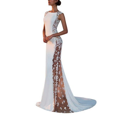 New Fashion White Dress Elegant Women Solid Formal Hollow Out Lace Dresses Evening Party Long Dresses Woman Party Night