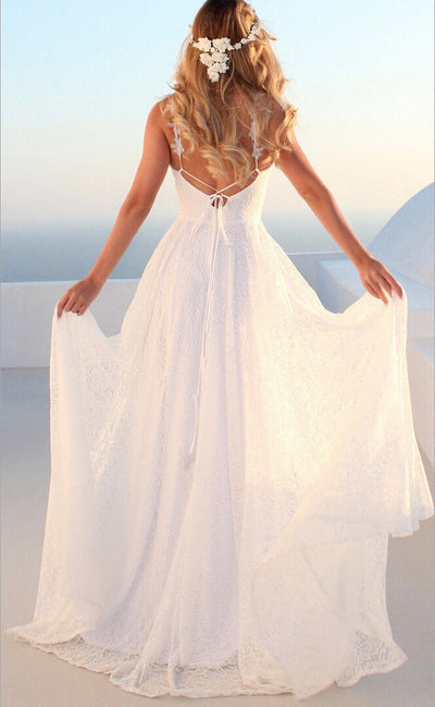 New Style Fashion Hot Women Attire Prom Ball Gown Formal Party Sleeveless Fit and Flare V Neck Lace Long Backless Dress