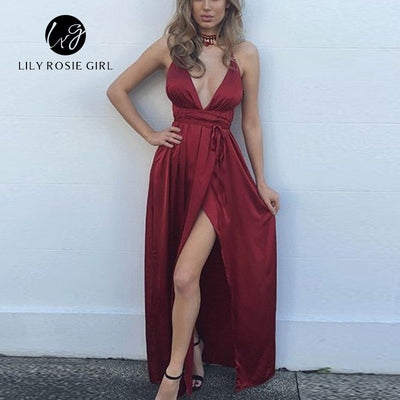Spaghetti Strap Backless Sexy Dress Women Split Evening Party Dresses Deep V Neck Satin Maxi Dress Long Summer Vestidos