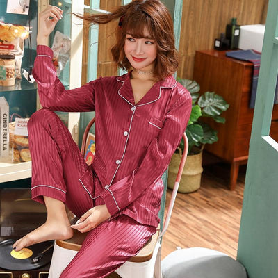 2019 Spring Silk Satin Pajama Set for Women Long Sleeve Pyjama Casual Striped Sleepwear Loungewear Homewear Pijama Mujer Clothes