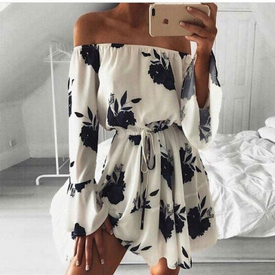 Spring Summer New Women Dress Sexy Slash Neck Long Flare Sleeve Backless Floral Printed Dress Black Lace Up Dress Vestidos