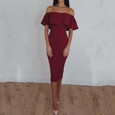 Summer Backless Dress Women Ruffle Party Pencil Dress Female Off Shoulder Midi Dress Ladies Sexy Elegant Dress For Women