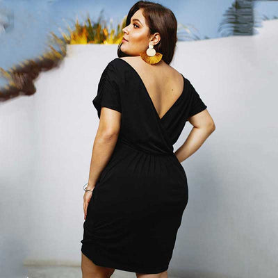 Summer Backless Dress Women V-neck A-line Big Size Dress Female Plus Size Deep V-neck Dress Elegant Mini Short Dress 3XL