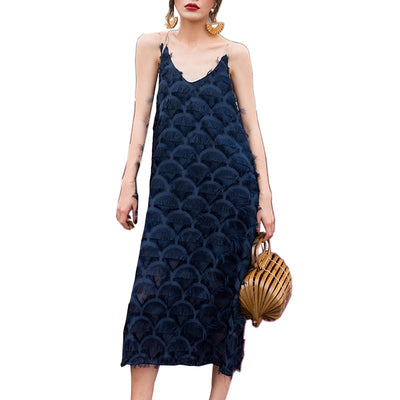 Summer Black Chiffon Dress Women Vintage V-neck Spaghetti Strap Long Dress fashion Sleeveless backless dress women