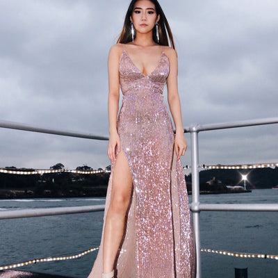 Summer Sleeveless Evening Party Sequins V-neck Backless Dress Women Sexy High Side Split Strap Slim Long Bodycon Dress