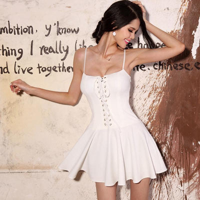 Summer Woman Bandage Lace Up Dresses Sexy Backless Spaghetti Strap Short Skater Dress Women A Line Sleeveless Mini Dress