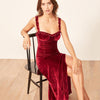 Wine Red Spaghetti Strap Split Sexy Bodycon Dress Sleeveless V-Neck Summer Women Dress Backless Club Party Dress Women