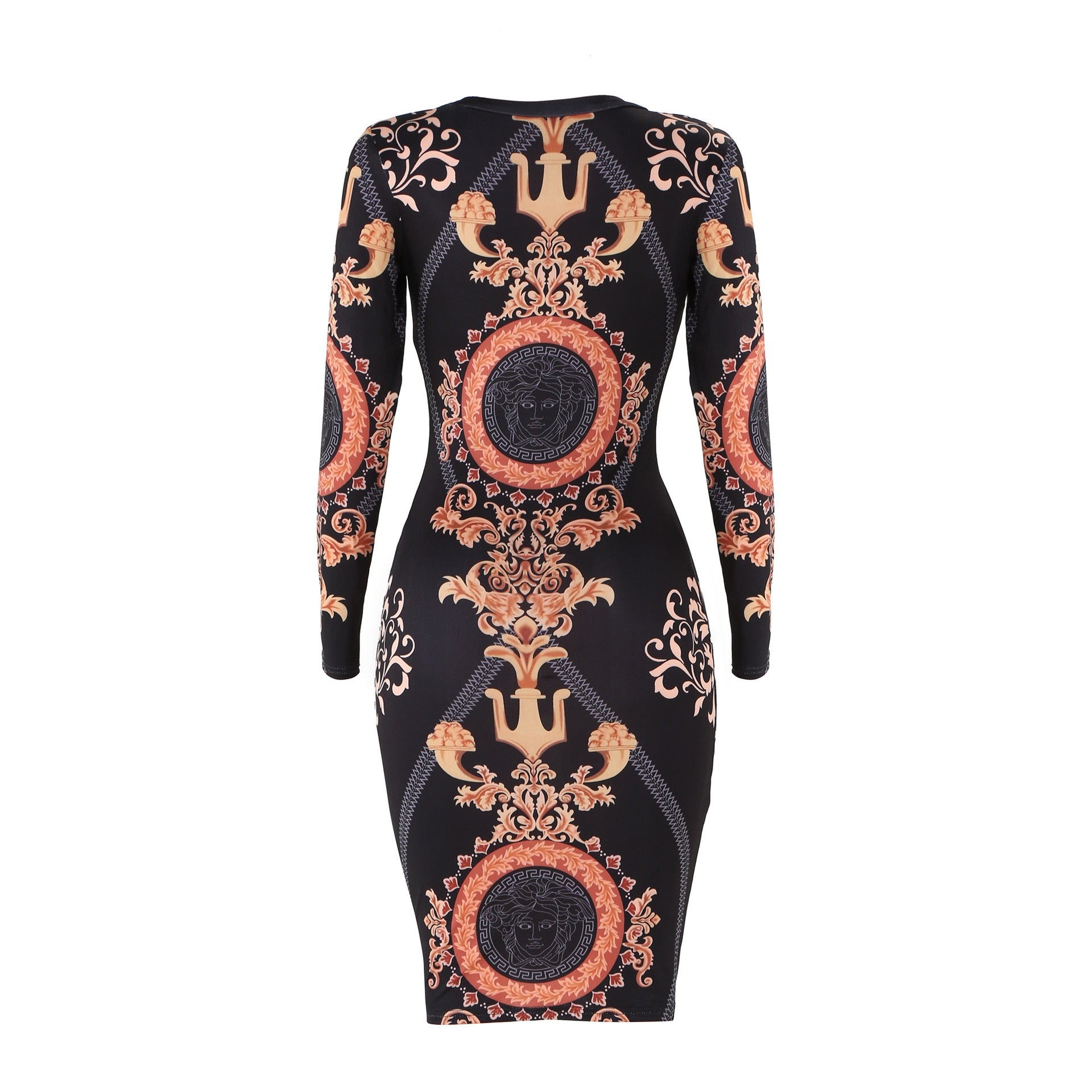 f62c6b1f4f0c5 2019 Women Dress Party Night Club Vintage dress Long Sleeve Print Hot Sale  Wrap Hip Bodycon Cocktail Bandage dress Sexy Dresses