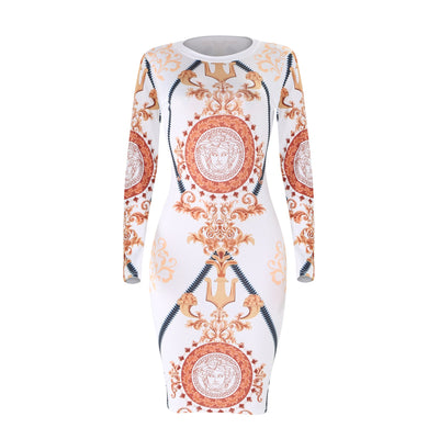 Women Dress Party Night Club Vintage dress Long Sleeve Print Wrap Hip Bodycon Cocktail Bandage dress Sexy Dresses