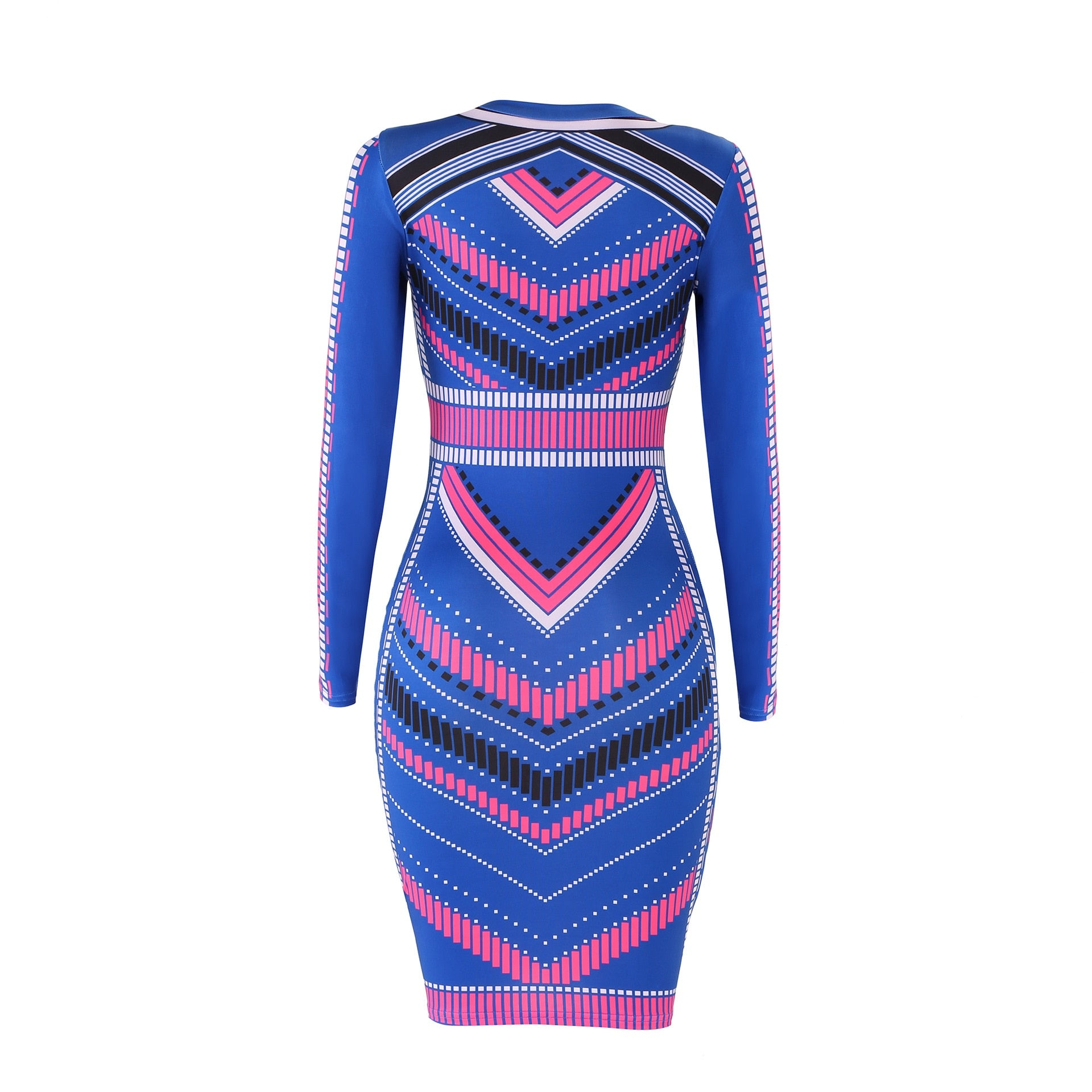 2019 Women Dress Party Night Club Vintage Dress Long Sleeve Print Hot Sale Wrap Hip Bodycon Cocktail Bandage Dress Sexy Dresses