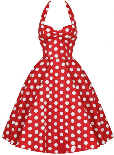 Women Summer 50S Robe Retro Polka Dot Rockabilly Big Swing Dresses Female Backless Party Dress Sleeveless Dot Vestidos K284