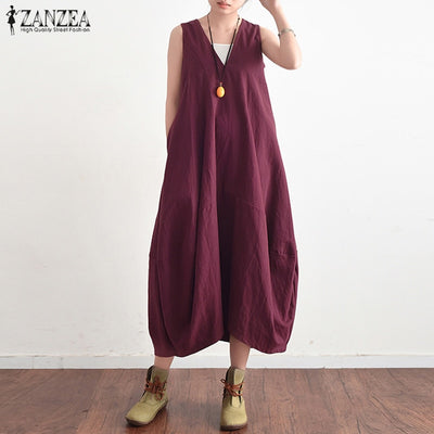 ZANZEA Summer Elegant Women V Neck Sleeveless Cotton Linen Long Dress Solid Baggy Casual Lace Up Backless Vestido Plus Size