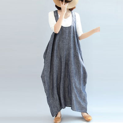 ZANZEA Women Summer Straps Sleeveless Solid Baggy Backless Long Dungarees Dress Cotton Linen Party Beach Vestido Plus Size
