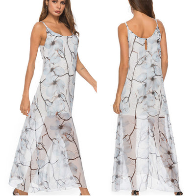 new summer beach dress women sexy round neck strap backless print chiffon dress female loose dress