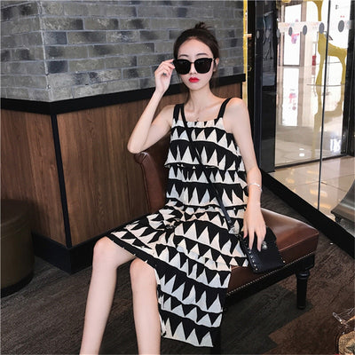 spring new Korean version of the beach halter halter backless dress women summer large size